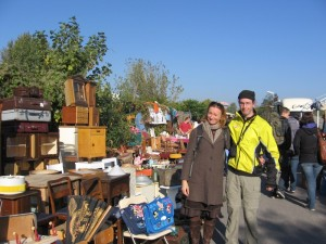 Renate and Zach at the flea market in Mauerpark