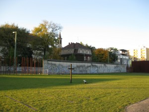 Berlin Wall memorial near our hotel