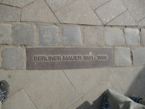 Berlin Wall marker incorporated into a sidewalk
