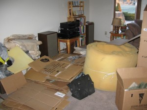 Chaos of boxes in the new living room