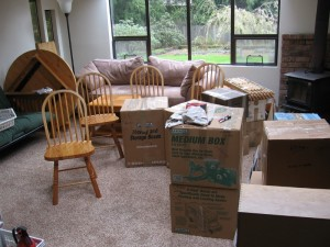 Chaos of boxes in the old sun room