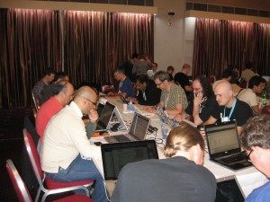 People working on documentation at DrupalCon London