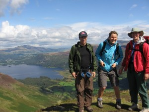 Jennifer, Delphine, Randy, and the view of Derwent Water from the ridge