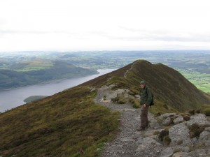 Randy on the trail along the Edge, with lake Bassenthwaite in the background