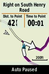 Screen shot of turn indication on GPS device