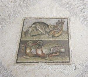 Roman mosaic with cats and ducks