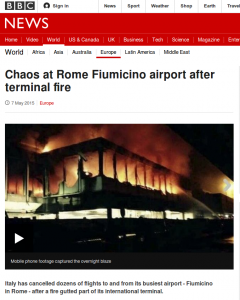 Screen shot of BBC news item about Rome airport fire