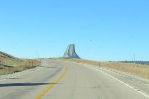 Devil's Tower and highway, from the north