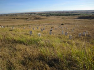 Memorials to General Custer and his soldiers, Little Bighorn National Monument, Montana