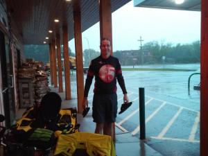 rain at a convenience store