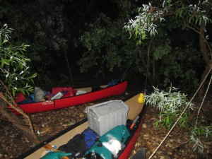 Canoes loaded at night