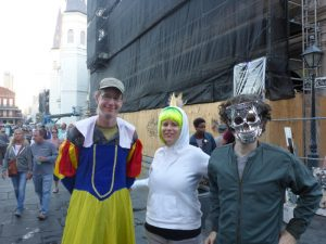 Zach and our Warm Showers hosts Holly and Bert, in costume for the Halloween Parade