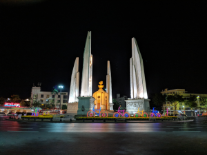 Democracy Monument with bike decorations